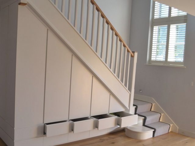 Bespoke fitted staircase storage