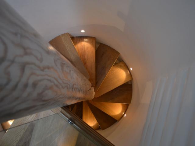 Lighting on bespoke spiral staircase