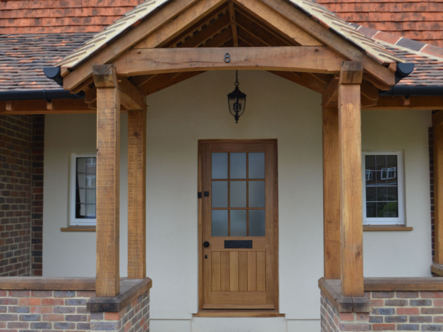Bespoke oak front door and porch