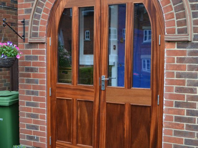 Custom-made double wooden front doors