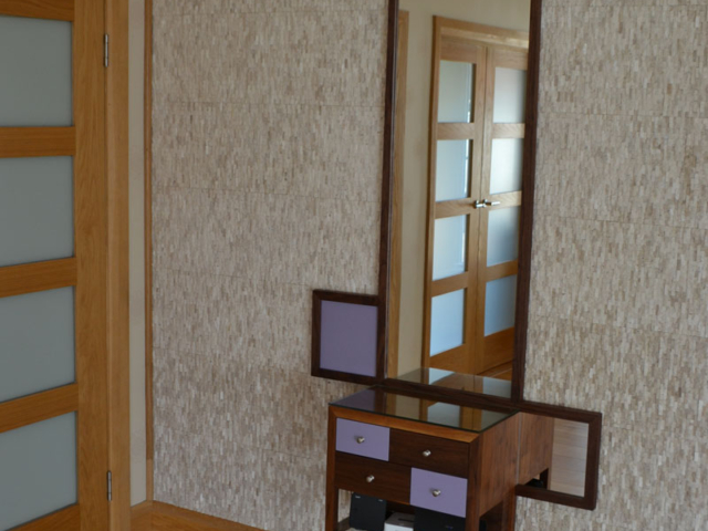 Bespoke free-standing cabinet with integral mirror