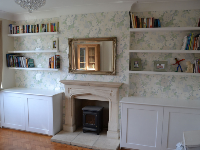 Bespoke fitted living room alcove units