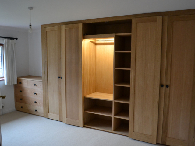 Traditional bespoke oak fitted wardrobes