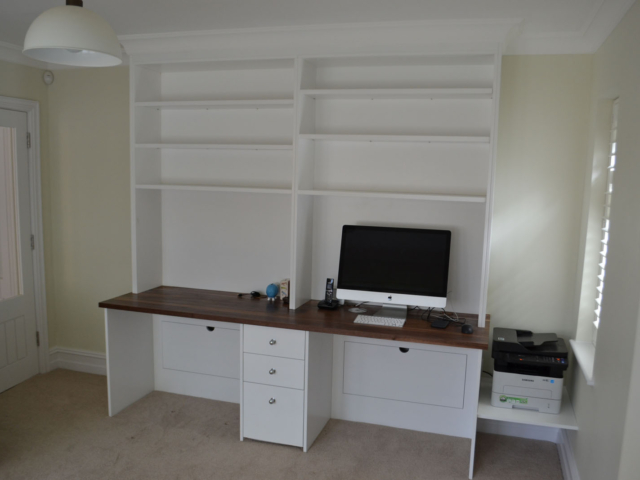 Custom-made fitted home office storage units
