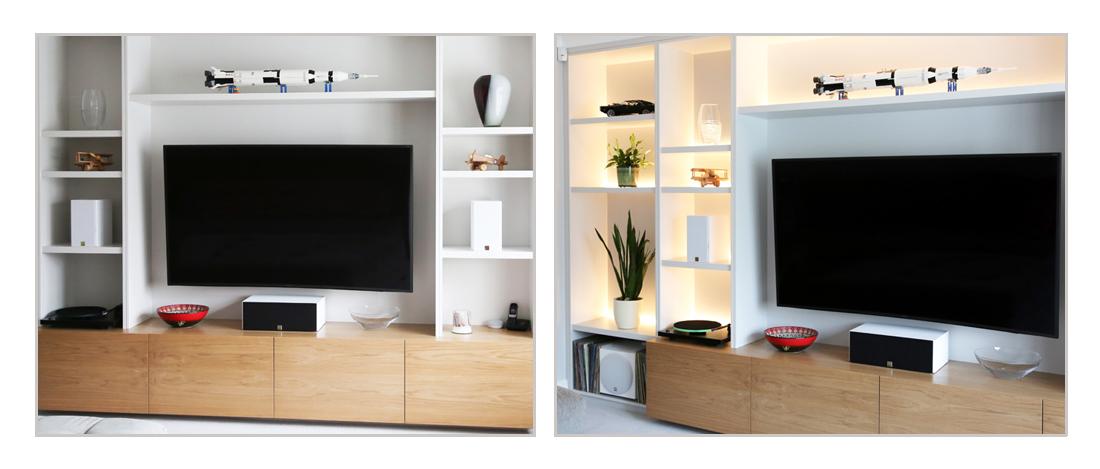 Bespoke minimalist modern fitted media unit